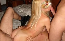 Gangbang with a blonde slut