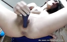 Brunette slut enjoys masturbation