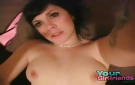 Brunette with great boobs rubs her hot body