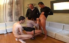 Gangbang with three guy and a mature slut