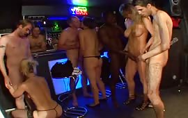 Hardcore orgy in a bar