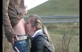 Outdoor blowjob scene