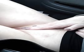 Masturbation in her car